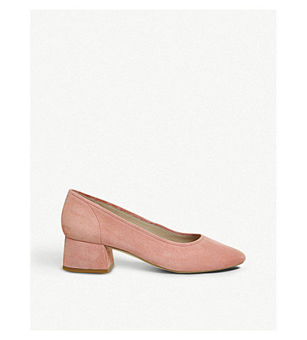 OFFICE Maze block-heel suede courts (Apricot+suede