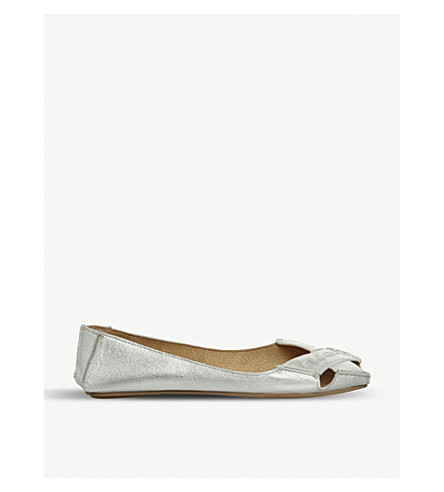 OFFICE Face to Face metallic leather peep-toe flats (Silver+leather