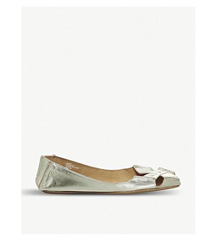 OFFICE 面对面金属皮革窥视脚趾平底鞋 (金 + 皮革