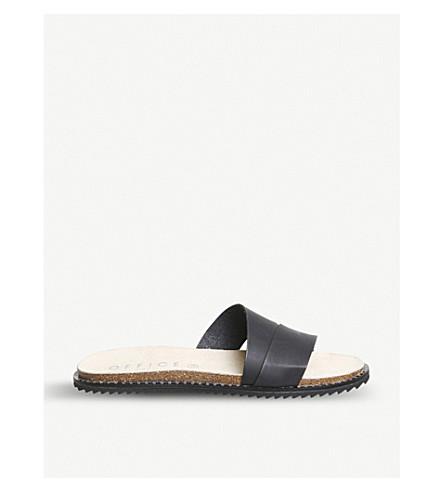 OFFICE Sorrento asymmetric leather sandals (Black+studded+rand