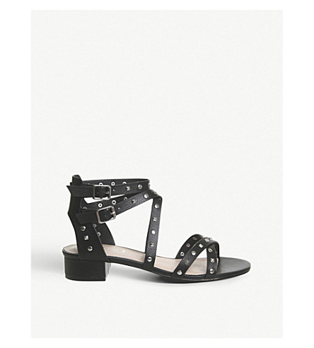 OFFICE Manhattan studded faux-leather sandals (Black+silver+studs