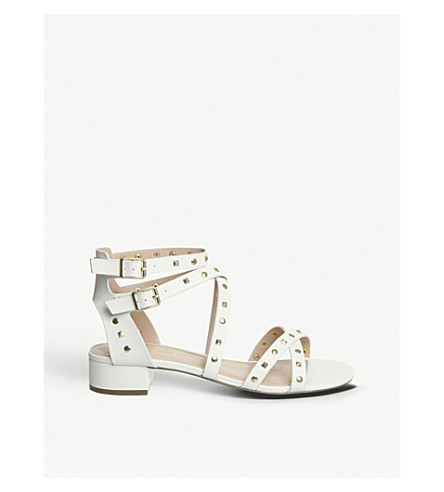 OFFICE Manhattan studded faux-leather sandals (White+gold+studs