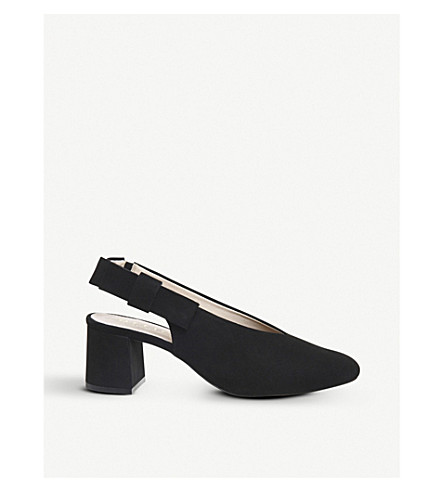 OFFICE Magical bow-detail suede courts (Black+suede
