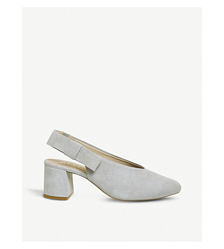OFFICE Magical bow-detail suede courts (Grey+suede