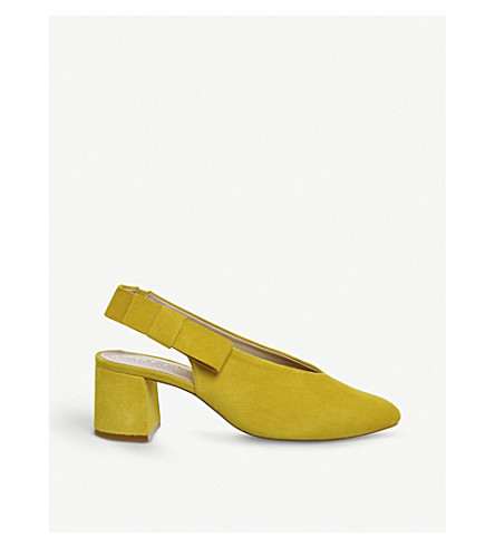 OFFICE Magical bow-detail suede courts (Yellow+suede