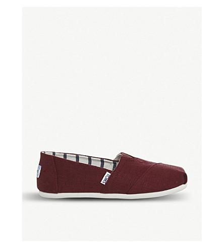 TOMS 季节性 Cassic 棉套穿款鞋履 (黑 + 樱桃