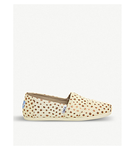 TOMS Spotted canvas espadrilles (Rose+gold+natural
