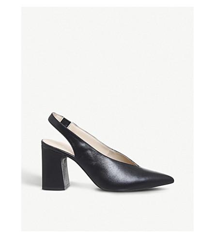 OFFICE Mimi leather block-heeled slingbacks (Black+leather