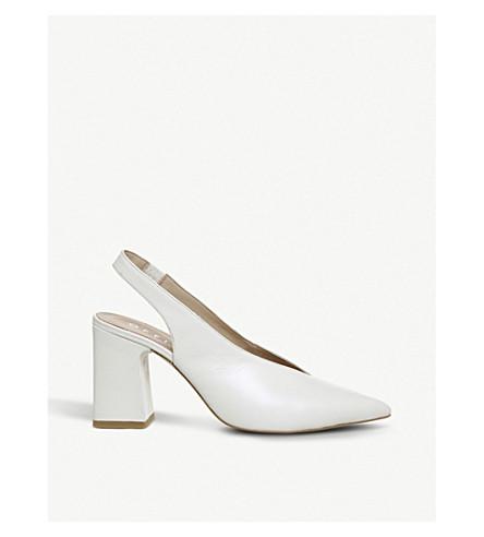 OFFICE Mimi leather block-heeled slingbacks (Off+white+leather