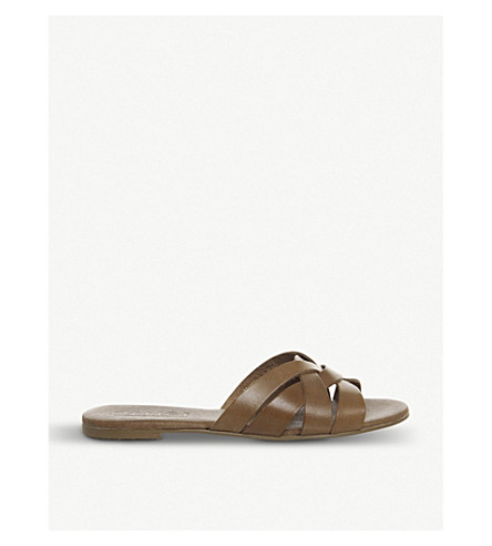 OFFICE Saffron leather mule-style sandals (Tan+leather