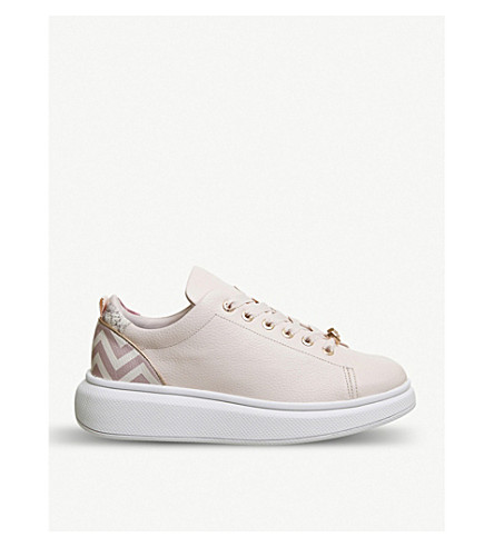 OFFICE Ailbe leather platform trainers (Light+pink+palace