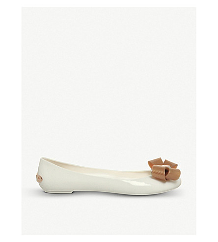 OFFICE Larmiar bow-detail jelly flats (White+rose+gold