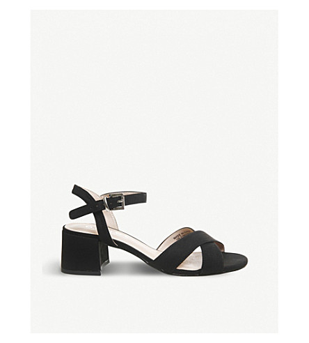 OFFICE Muffin cross-over strap block heel sandals (Black