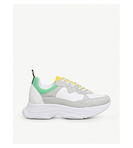OFFICE 网格板人造绒面革运动鞋 (白色 + 黄色 + + 绿色