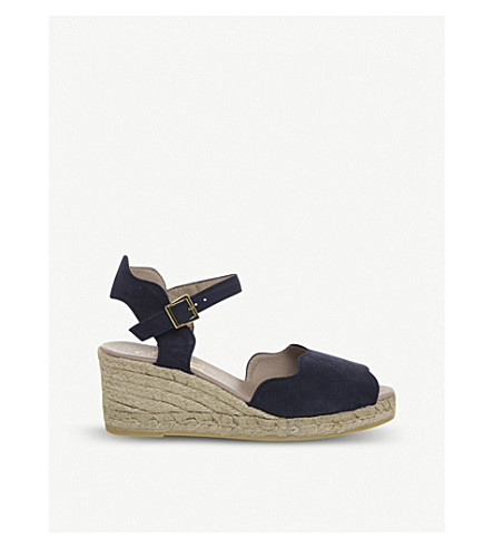 OFFICE Round espadrille suede wedges (Navy+suede