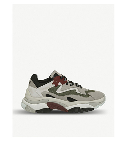 ASH Addict leather and mesh trainers (Grey+off+white+red