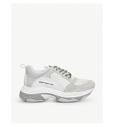 OFFICE Fornarina 超级皮革和网运动鞋 (白色