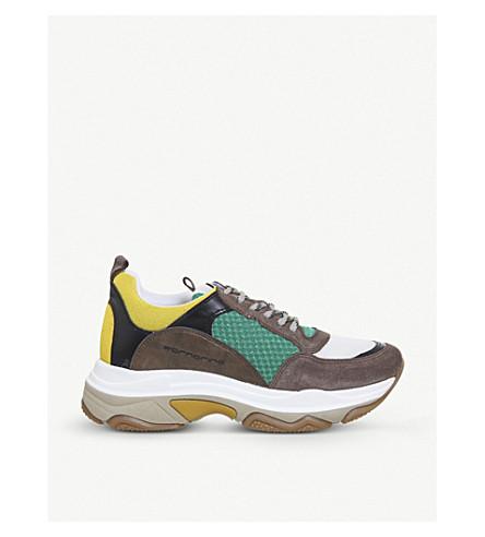 OFFICE Fornarina 超级皮革和网运动鞋 (绿色