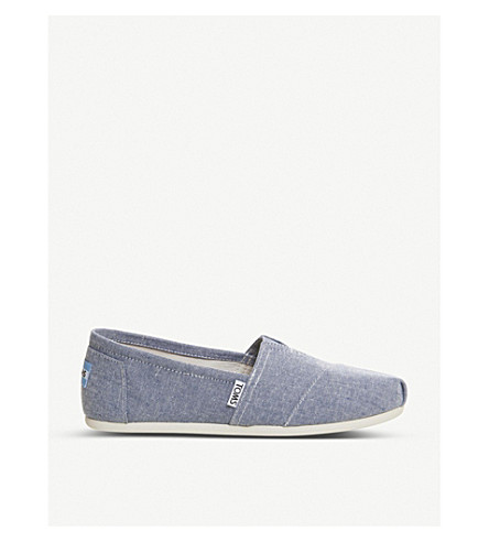 TOMS Seasonal Classic canvas slip-on shoes (Blue+slub+chambray