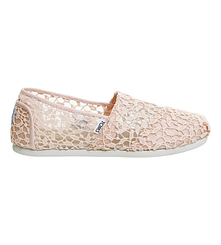 TOMS Seasonal Classic lace slip-on shoes (Pink+lace+leaves