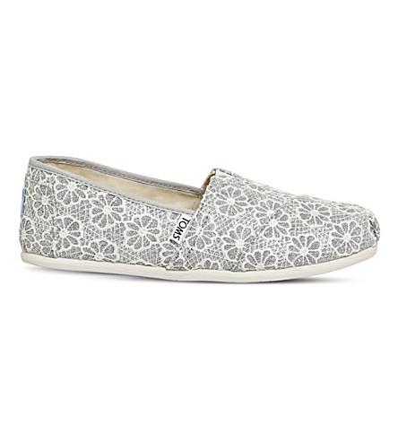 TOMS Classic glitter crotchet slip-on shoes (Silver+crochet