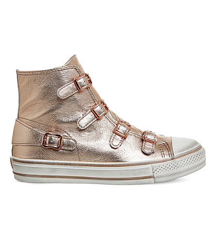 ASH Virgin high-top leather trainers (Rame+rose+gold+metal