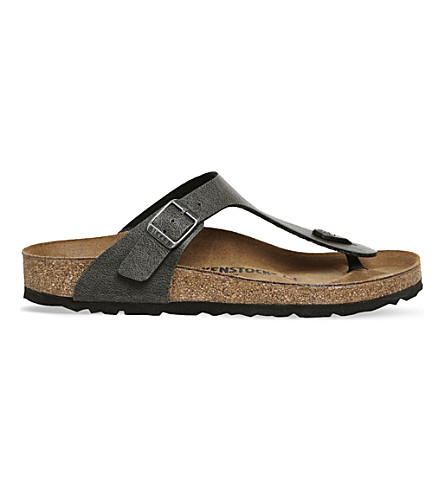 BIRKENSTOCK Faux-leather thong sandals (Pull+up+anthracite