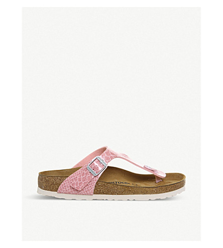 BIRKENSTOCK Thong glittered faux-leather sandals (Magic+snake+rose