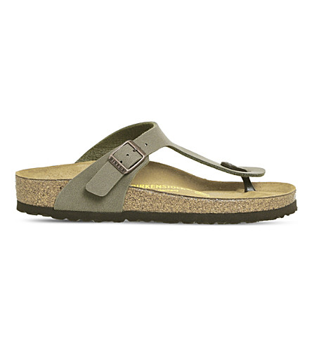 BIRKENSTOCK Faux-leather thong sandals (Stone