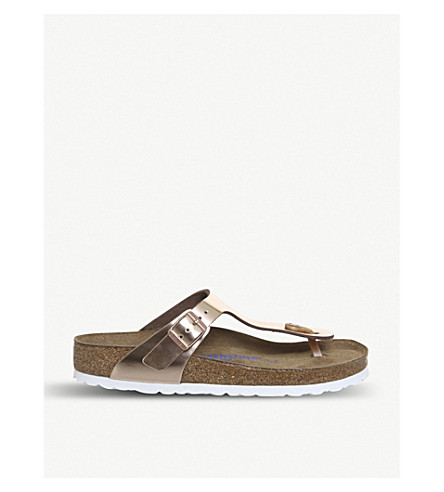 BIRKENSTOCK Gizeh open-toe metallic sandals (Copper