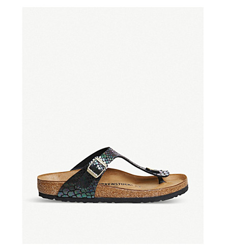 BIRKENSTOCK Thong iridescent reptile faux-leather sandals (Shiny+snake+multi