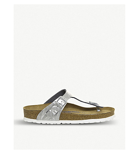 46bb700a353f ... BIRKENSTOCK Gizeh cracked-effect leather sandals (Spectral+silver.  PreviousNext
