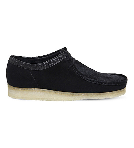 CLARKS ORIGINALS Wallabee suede and pony-hair derby shoes