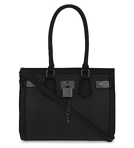 ALDO Gilliam snake-embossed shoulder bag (Black leather