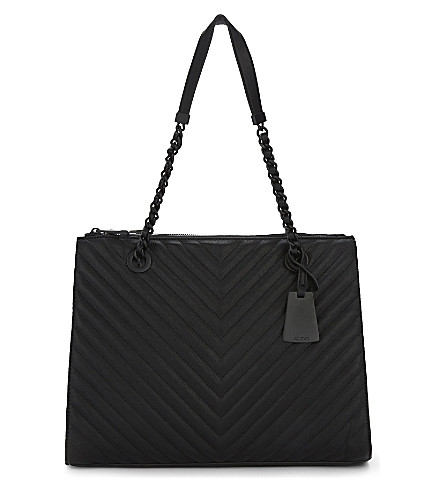 ALDO Katty quilted faux-leather tote (Black+leather