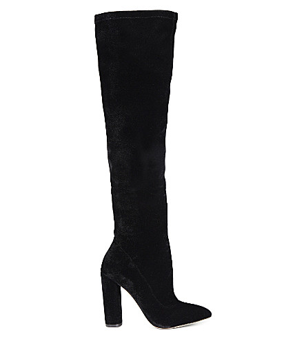 ALDO Sylvana velvet heeled knee-high boots (Black velvet