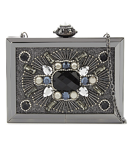 ALDO Absolut sequin box clutch (Black leather