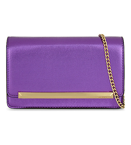 ALDO Afolia faux-leather clutch (Dark purple