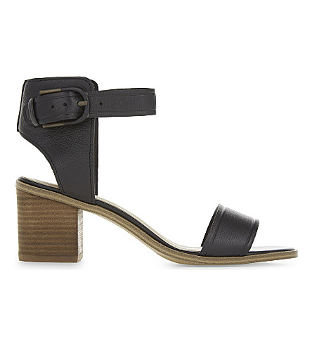 ALDO Dezi 皮革高跟鞋凉鞋 (黑色 + 皮革