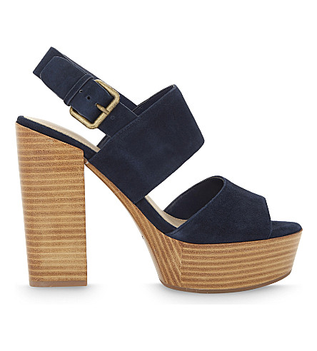 ALDO Maximoa suede heeled sandals (Navy+multi