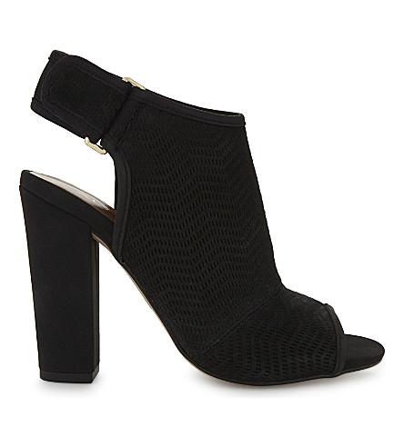 ALDO Lovialla 绒面革跟凉鞋 (黑 + 磨砂