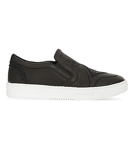 ALDO Grilla leather slip-on trainers (Black+leather