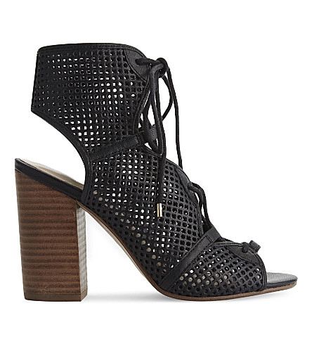 ALDO Alicya 皮革高跟鞋凉鞋 (黑色 + 皮革