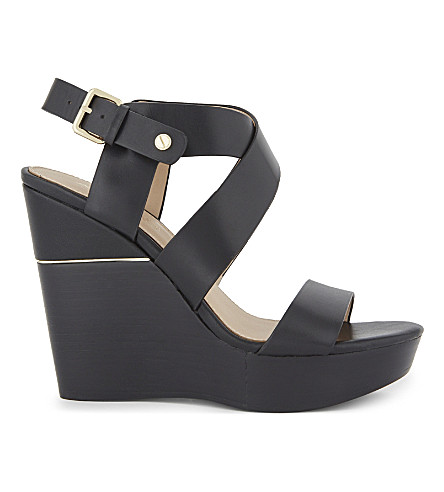 ALDO Faustina leather wedge sandals (Black+leather