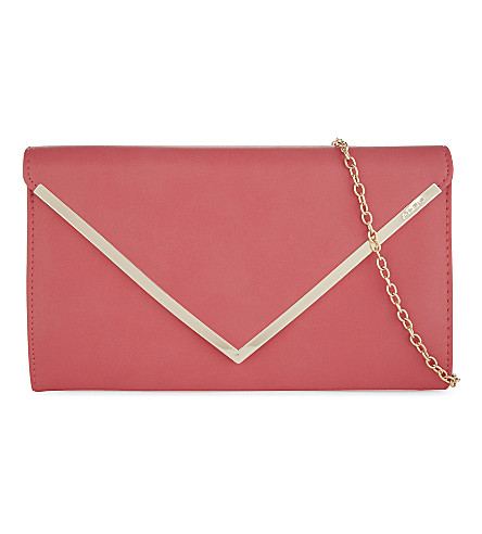 ALDO Varinaa leather envelope clutch (Peach