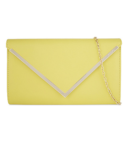 ALDO Varinaa leather envelope clutch (Light+yellow