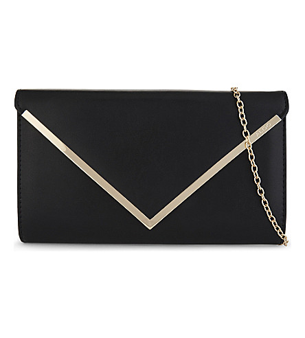 ALDO Varinaa leather envelope clutch (Black+leather