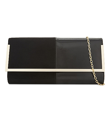 ALDO Faucheux faux-suede and leather clutch (Black+suede