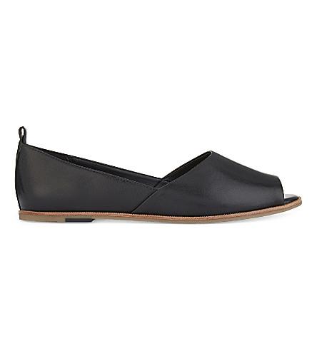 ALDO Chiarella 真皮芭蕾平底鞋 (黑色 + 皮革