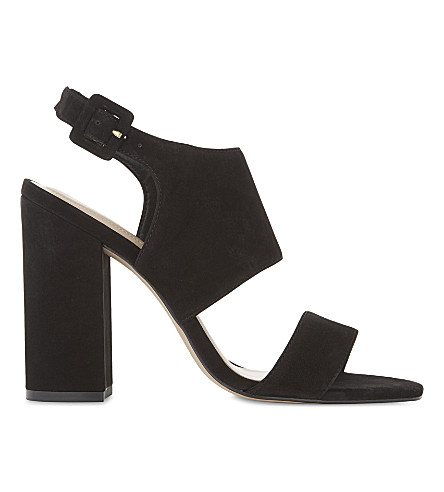 ALDO Elise leather heeled sandals (Black+nubuck
